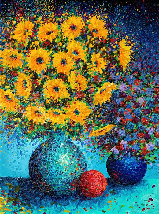 Original art for sale at UGallery.com | Sunflowers in Bloom by Jeff Fleming | $1,825 | oil painting | 40' h x 30' w | ..\art\oil-painting-Sunflowers-in-Bloom