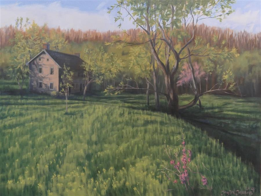 Original art for sale at UGallery.com | The Qually House in Spring by Jay Jensen | $1,650 | oil painting | 18' h x 24' w | ..\art\oil-painting-The-Qually-House-in-Spring
