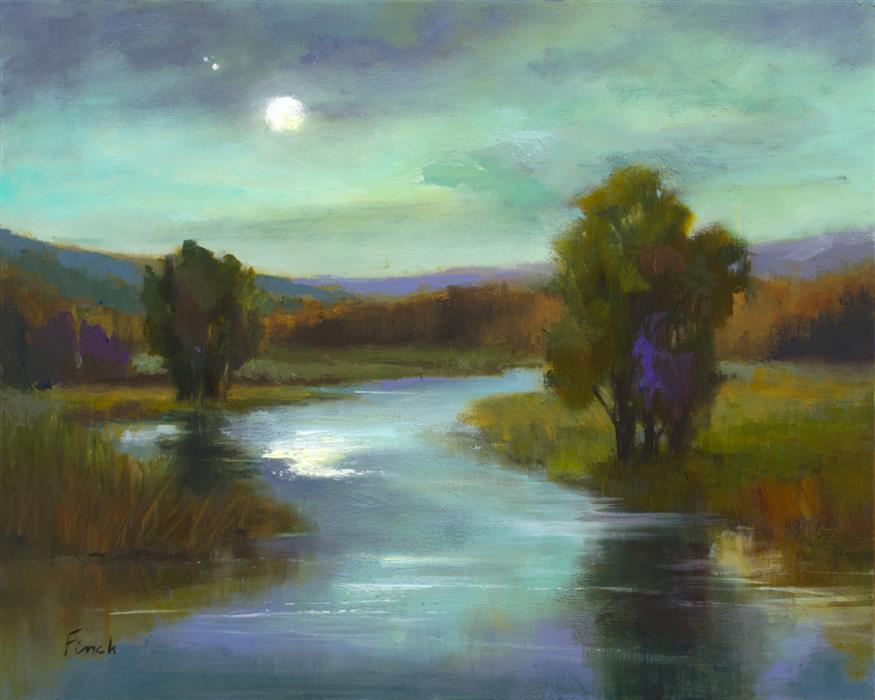 Original art for sale at UGallery.com | April Moon by Sheila Finch | $700 | oil painting | 8' h x 10' w | ..\art\oil-painting-April-Moon