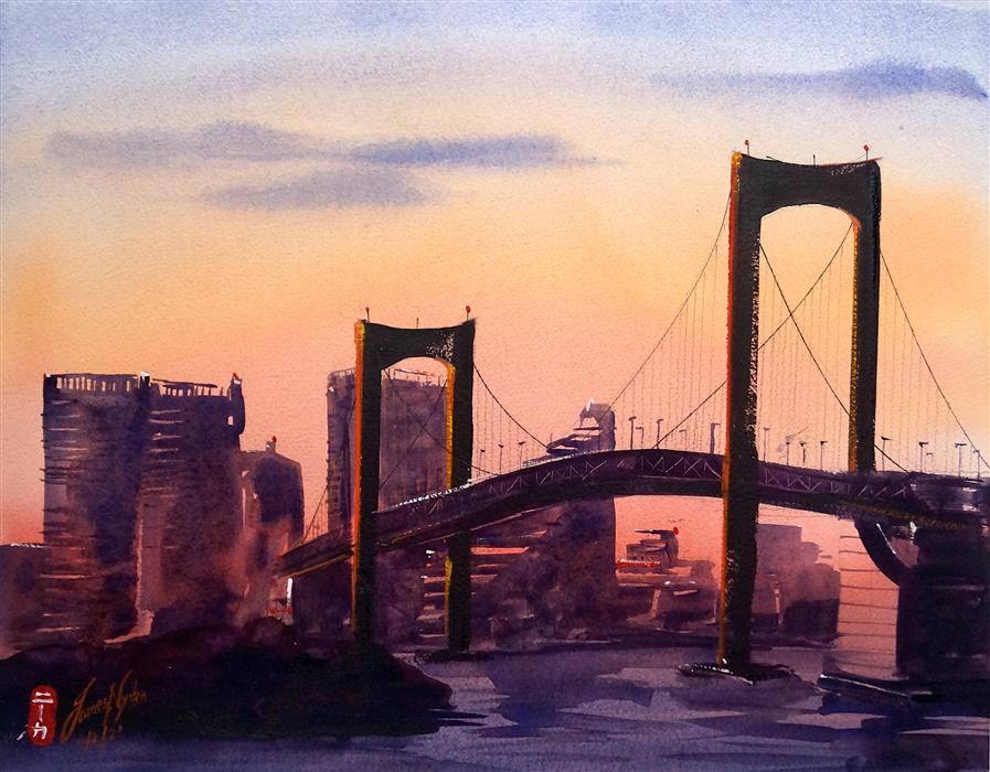 Original art for sale at UGallery.com | Odaiba Bridge by James Nyika | $700 | watercolor painting | 16' h x 20' w | ..\art\watercolor-painting-Odaiba-Bridge