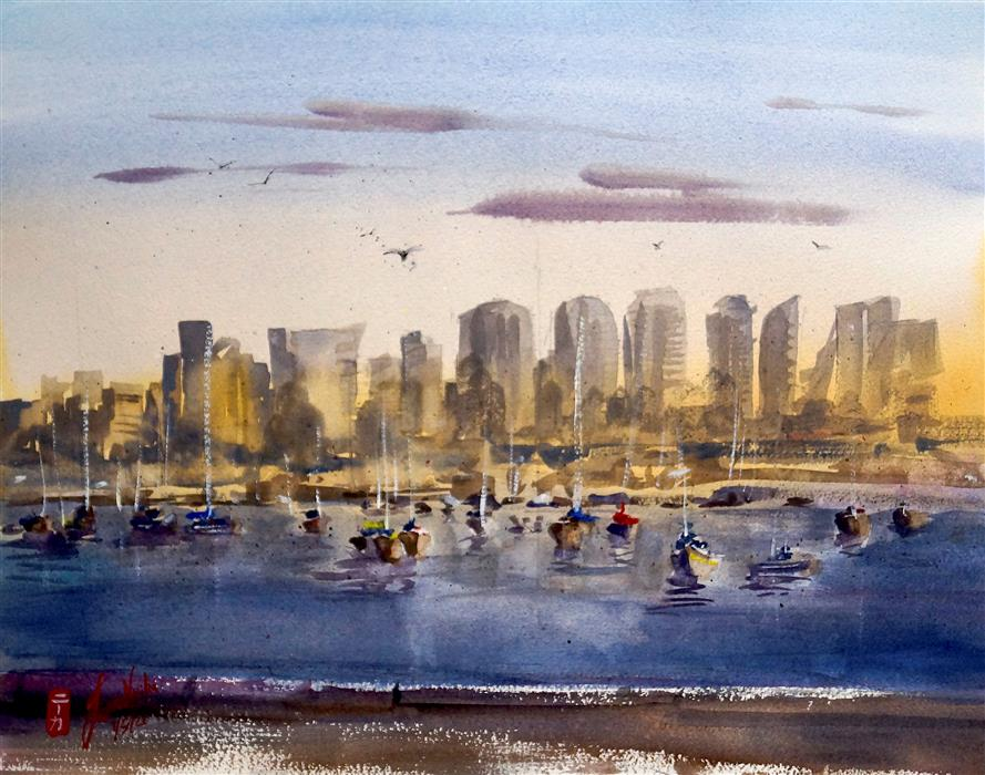 Original art for sale at UGallery.com | San Diego Bay by James Nyika | $600 | watercolor painting | 16' h x 20' w | ..\art\watercolor-painting-San-Diego-Bay