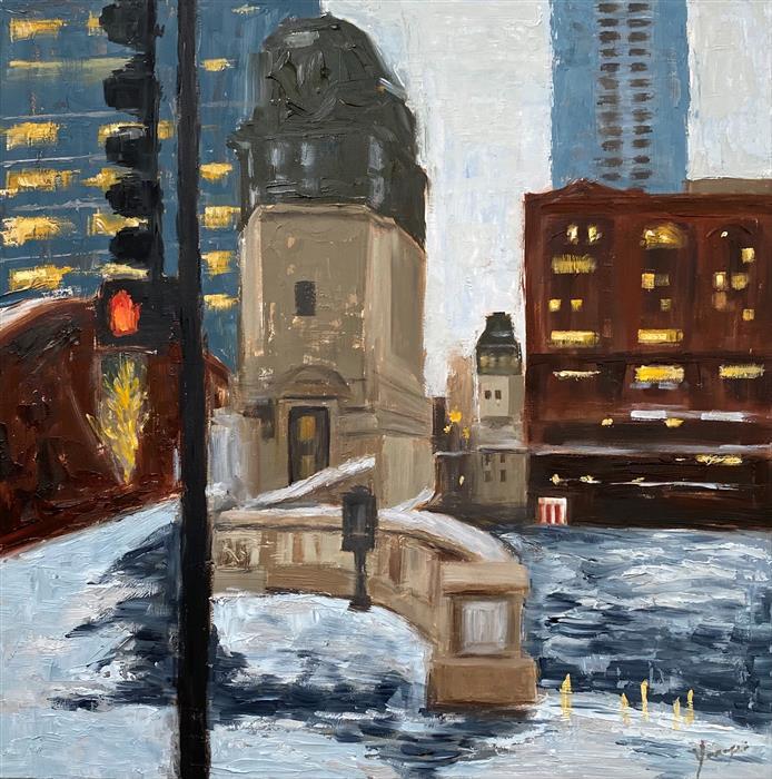 Original art for sale at UGallery.com | Winter, LaSalle St, #2 by Yangzi Xu | $400 | oil painting | 12' h x 12' w | ..\art\oil-painting-Winter-LaSalle-St-2