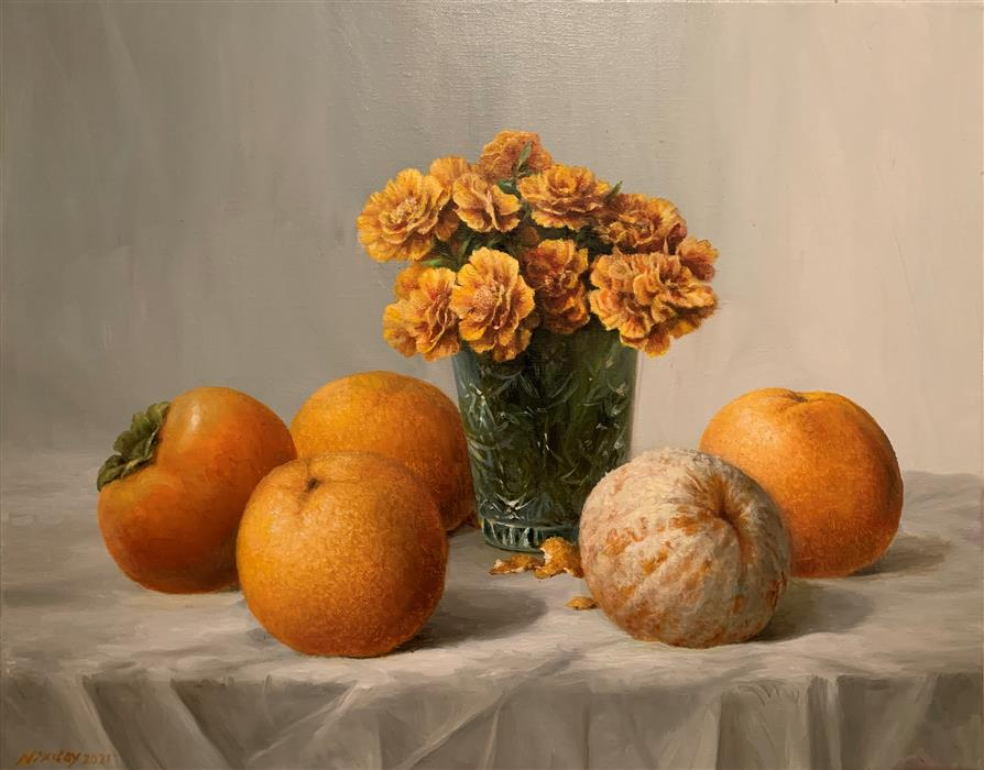 Original art for sale at UGallery.com | Still Life in Orange by Nikolay Rizhankov | $1,200 | oil painting | 16' h x 20' w | ..\art\oil-painting-Still-Life-in-Orange