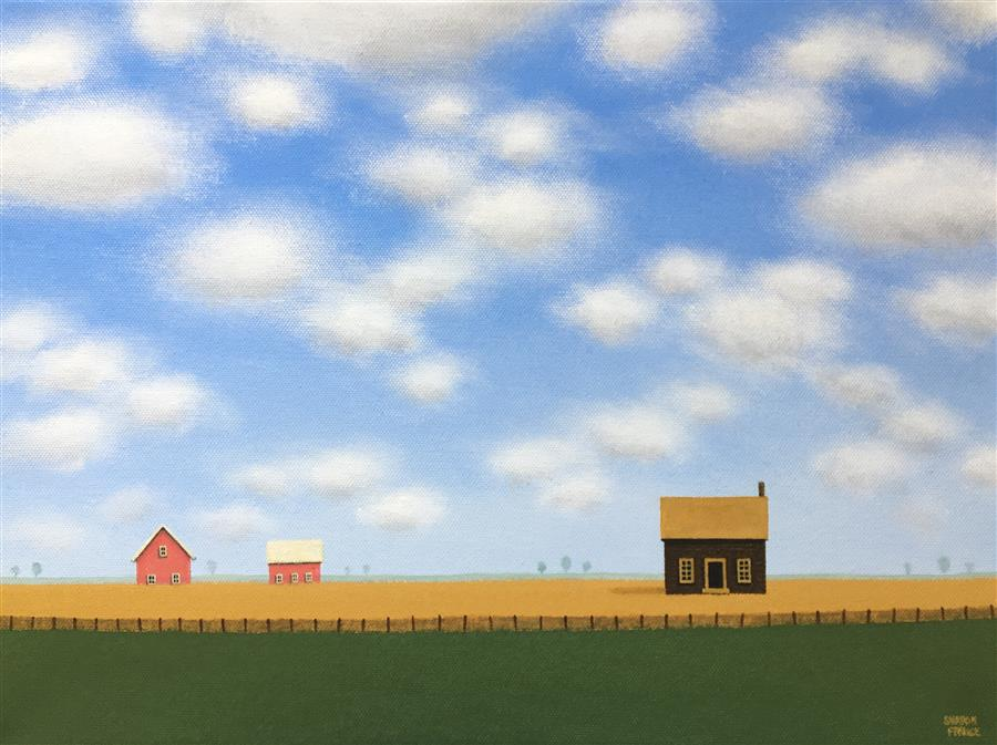 Original art for sale at UGallery.com | A Quiet Little Farm by Sharon  France | $775 | acrylic painting | 12' h x 16' w | ..\art\acrylic-painting-A-Quiet-Little-Farm