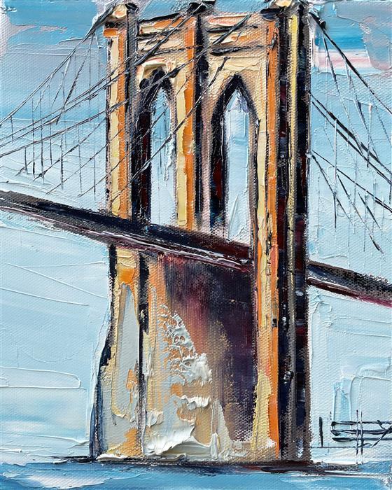 Original art for sale at UGallery.com | Across the Brooklyn Bridge by Lisa Elley | $375 | oil painting | 10' h x 8' w | ..\art\oil-painting-Across-the-Brooklyn-Bridge