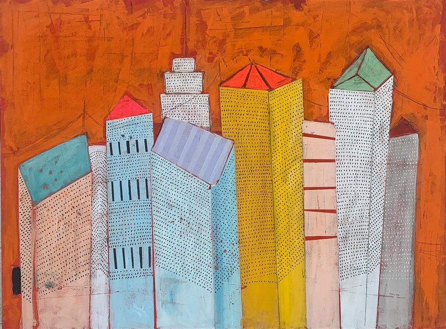 Original art for sale at UGallery.com | Hello Big City by Rick Hamilton | $3,200 | acrylic painting | 36' h x 48' w | ..\art\acrylic-painting-Hello-Big-City