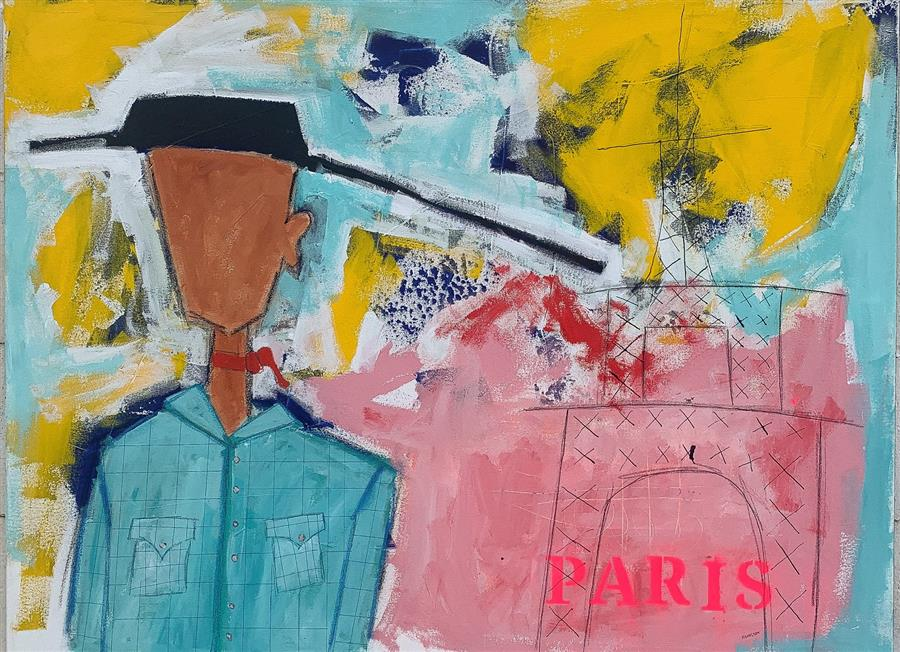Original art for sale at UGallery.com | A Cowboy in Paris by Rick Hamilton | $2,175 | acrylic painting | 30' h x 40' w | ..\art\acrylic-painting-A-Cowboy-in-Paris