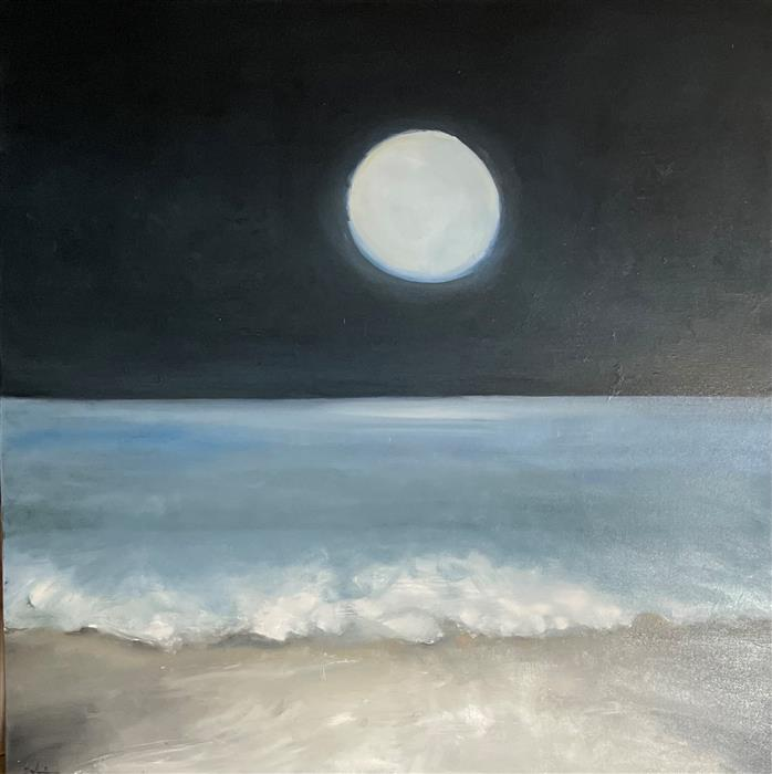 Original art for sale at UGallery.com | Moon Glow by Patricia Fabian | $3,900 | oil painting | 48' h x 48' w | ..\art\oil-painting-Moon-Glow-70579