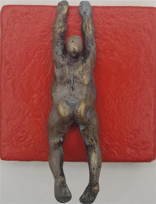 Original art for sale at UGallery.com | Small Being Climber on Red (Series 2/50) by Yelitza Diaz | $325 | mixed media artwork | 7' h x 6' w | ..\art\mixed-media-artwork-Small-Being-Climber-on-Red-Series-2-50
