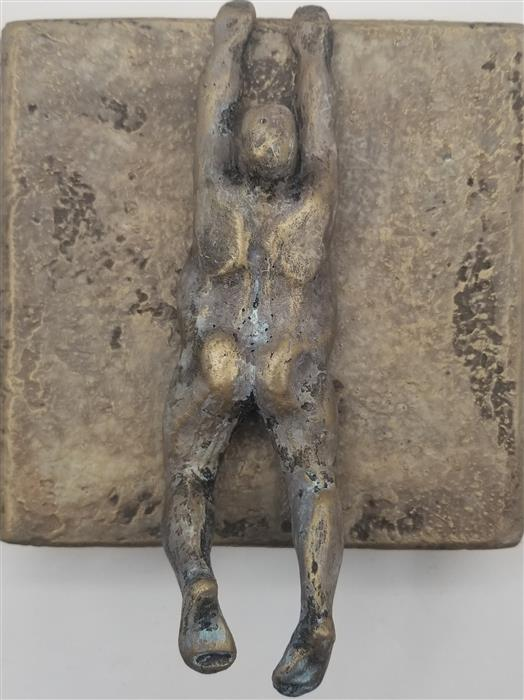 Original art for sale at UGallery.com | Small Being Climber on Bronze (Series 3/50) by Yelitza Diaz | $325 | mixed media artwork | 7' h x 6' w | ..\art\mixed-media-artwork-Small-Being-Climber-on-Bronze-Series-3-50