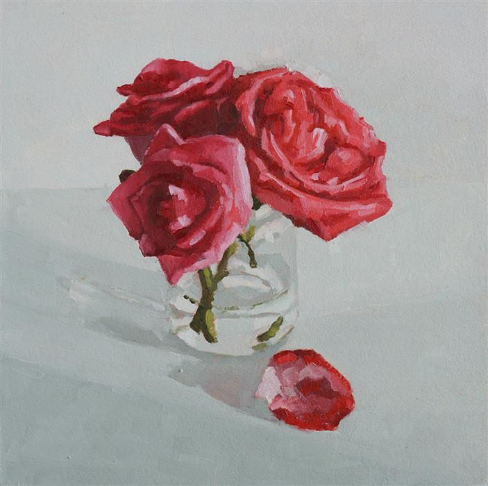Original art for sale at UGallery.com | February Roses by Nicole Lamothe | $425 | oil painting | 10' h x 10' w | ..\art\oil-painting-February-Roses