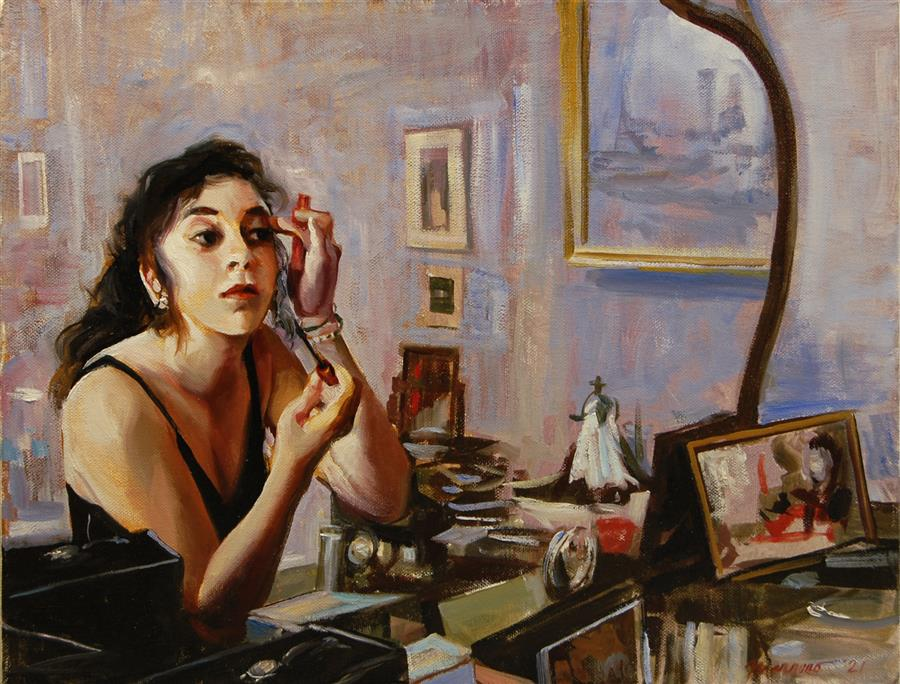 Original art for sale at UGallery.com | The Girl in the Mirror by Onelio Marrero | $700 | oil painting | 12' h x 16' w | ..\art\oil-painting-The-Girl-in-the-Mirror