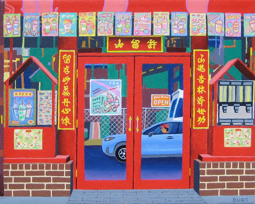 Original art for sale at UGallery.com | Teahouse by Leroy Burt | $375 | acrylic painting | 8' h x 10' w | ..\art\acrylic-painting-Teahouse