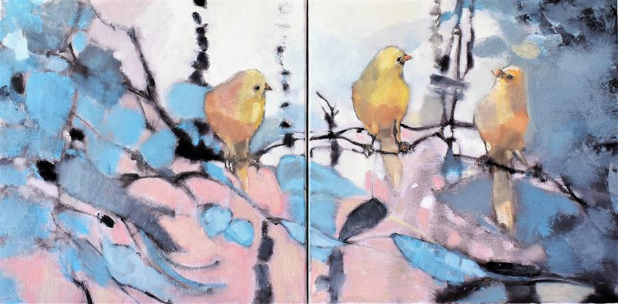 Original art for sale at UGallery.com | Bird Lounge by Mary Pratt | $1,025 | oil painting | 12' h x 24' w | ..\art\oil-painting-Bird-Lounge