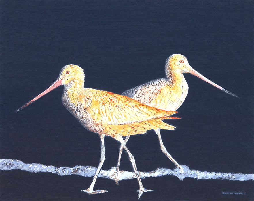 Original art for sale at UGallery.com | Two Godwits at Night by Emil Morhardt | $1,675 | acrylic painting | 24' h x 30' w | ..\art\acrylic-painting-Two-Godwits-at-Night