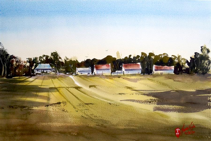 Original art for sale at UGallery.com | Research Station by James Nyika | $600 | watercolor painting | 15' h x 22' w | ..\art\watercolor-painting-Research-Station