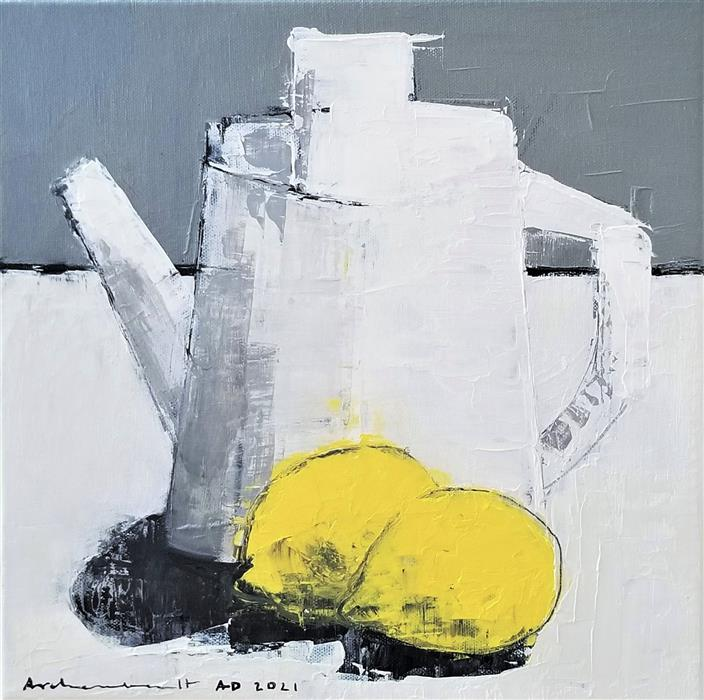 Original art for sale at UGallery.com | Jug and Lemons by Paulina Archambault | $425 | acrylic painting | 12' h x 12' w | ..\art\acrylic-painting-Jug-and-Lemons