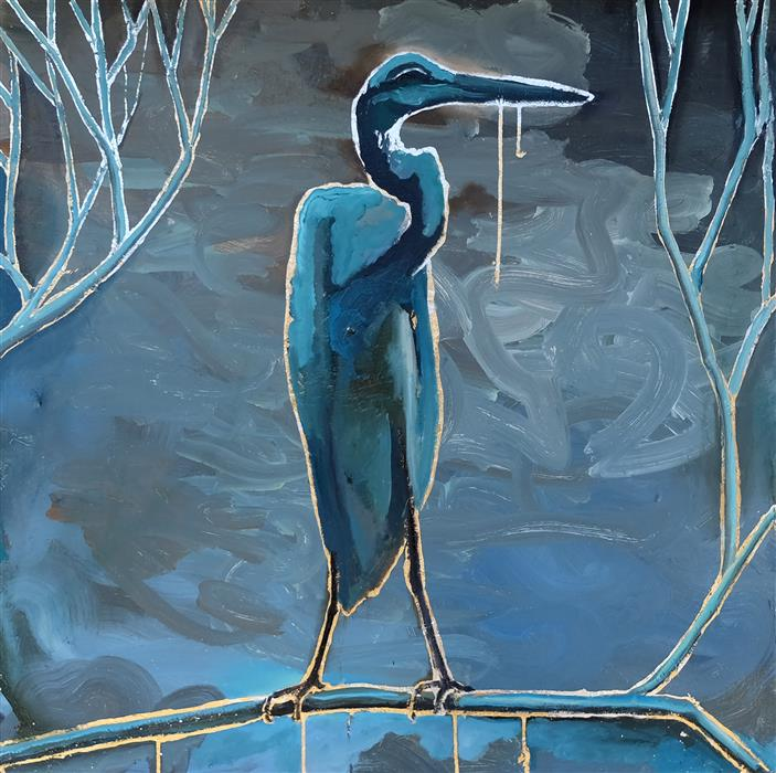 Original art for sale at UGallery.com | Blue Heron on Blue by Scott Dykema | $3,100 | mixed media artwork | 36' h x 36' w | ..\art\mixed-media-artwork-Blue-Heron-on-Blue