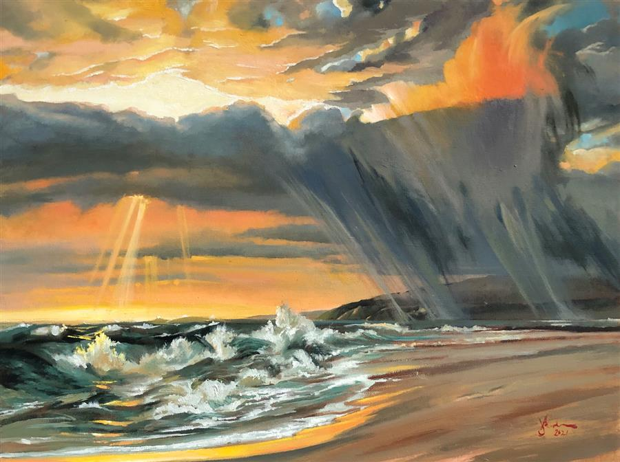 Original art for sale at UGallery.com | Requiem by Jesse Aldana | $950 | oil painting | 18' h x 24' w | ..\art\oil-painting-Requiem