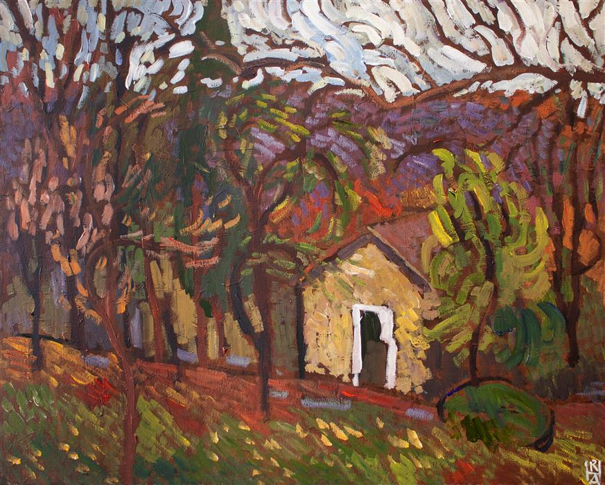Original art for sale at UGallery.com | Ancient Cottage among Trees by Robert Hofherr | $1,150 | acrylic painting | 24' h x 30' w | ..\art\acrylic-painting-Ancient-Cottage-among-Trees
