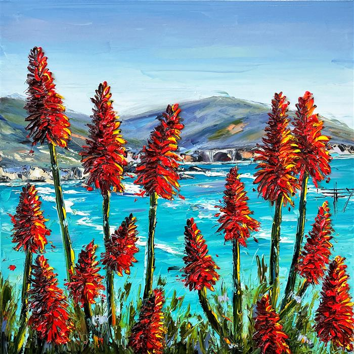 Original art for sale at UGallery.com | Promise of Big Sur by Lisa Elley | $1,150 | oil painting | 20' h x 20' w | ..\art\oil-painting-Promise-of-Big-Sur