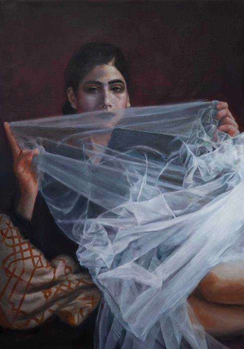 Original art for sale at UGallery.com | Woman with Veil by John Kelly | $2,800 | oil painting | 21.5' h x 15' w | ..\art\oil-painting-Woman-with-Veil-70636