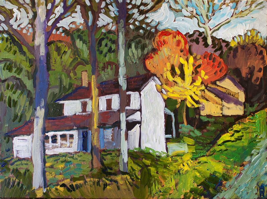 Original art for sale at UGallery.com | Farmhouse near Tyaskin by Robert Hofherr | $1,200 | acrylic painting | 22' h x 28' w | ..\art\acrylic-painting-Farmhouse-near-Tyaskin