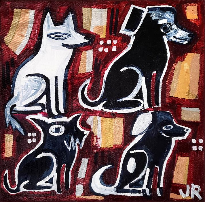 Original art for sale at UGallery.com | The Violinist's Dogs by Jessica JH Roller | $275 | acrylic painting | 8' h x 8' w | ..\art\acrylic-painting-The-Violinist-s-Dogs