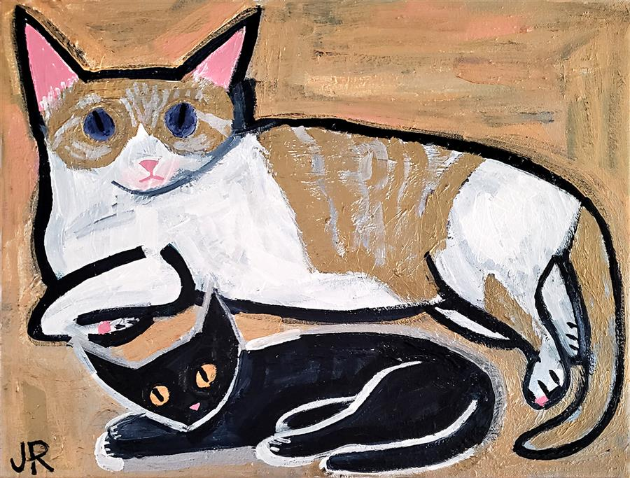 Original art for sale at UGallery.com | Big Cat, Little Cat by Jessica JH Roller | $325 | acrylic painting | 12' h x 16' w | ..\art\acrylic-painting-Big-Cat-Little-Cat
