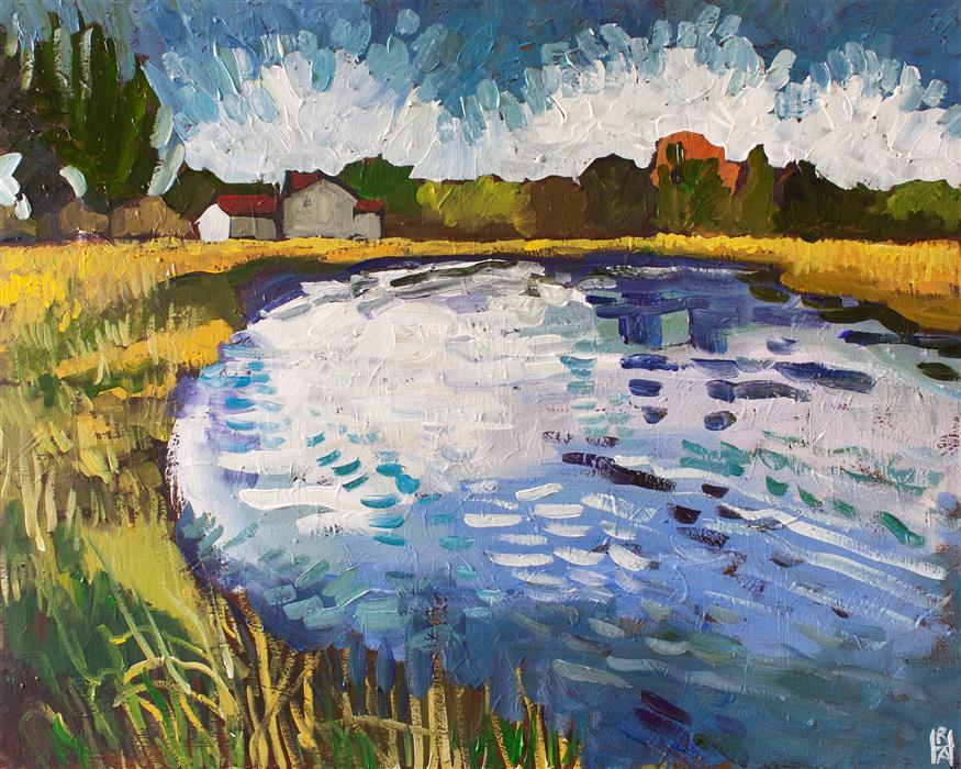 Original art for sale at UGallery.com | View near Trappe Landing by Robert Hofherr | $1,375 | acrylic painting | 24' h x 30' w | ..\art\acrylic-painting-View-near-Trappe-Landing