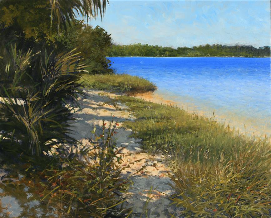 Original art for sale at UGallery.com | Turn of the Bend Tomoka River by Kent Sullivan | $1,660 | oil painting | 16' h x 20' w | ..\art\oil-painting-Turn-of-the-Bend-Tomoka-River