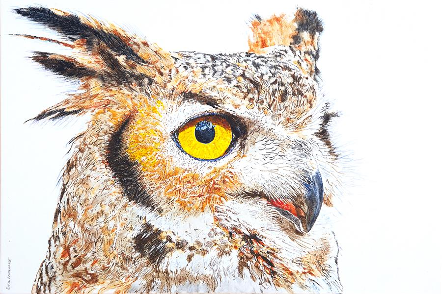 Original art for sale at UGallery.com | A Watchful Great Horned Owl by Emil Morhardt | $1,825 | acrylic painting | 24' h x 36' w | ..\art\acrylic-painting-A-Watchful-Great-Horned-Owl