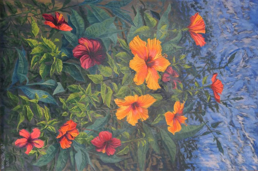 Original art for sale at UGallery.com | Hibiscus Explosion by Jay Jensen | $3,050 | oil painting | 36' h x 24' w | ..\art\oil-painting-Hibiscus-Explosion