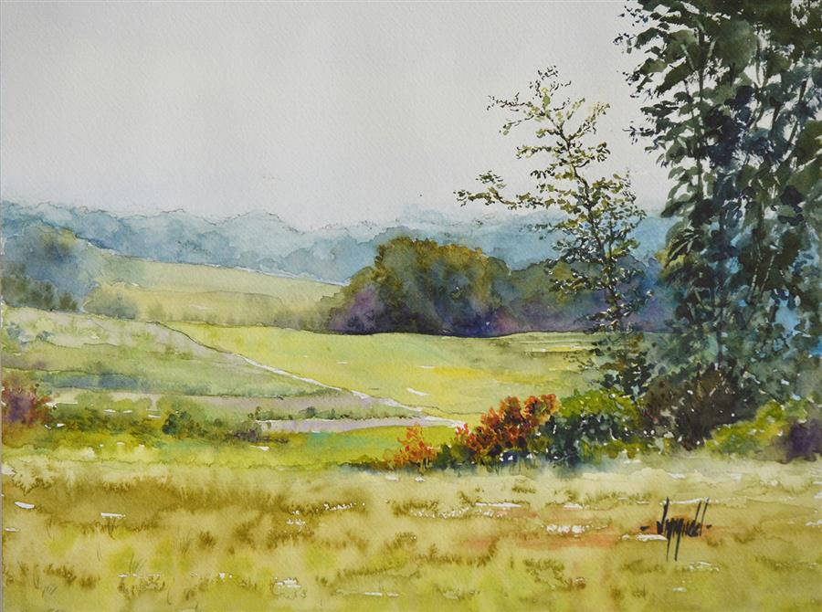 Original art for sale at UGallery.com | Ohio Side Road by Judy Mudd | $600 | watercolor painting | 9' h x 12' w | ..\art\watercolor-painting-Ohio-Side-Road