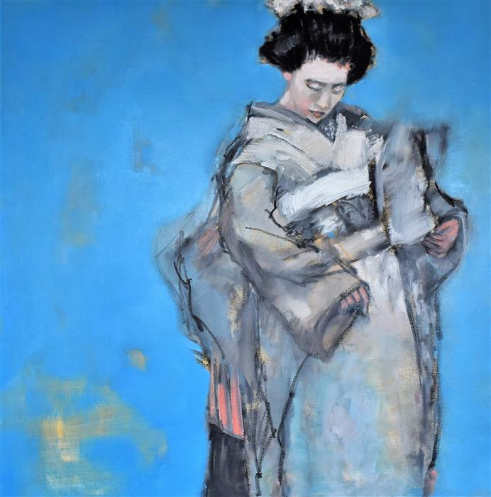 Original art for sale at UGallery.com | Turquoise Geisha by Mary Pratt | $1,800 | oil painting | 30' h x 30' w | ..\art\oil-painting-Turquoise-Geisha