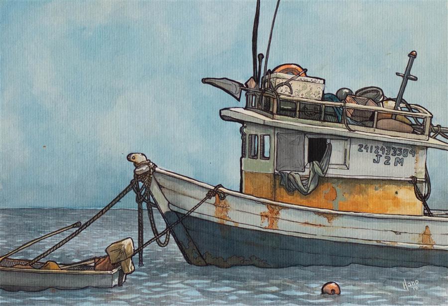Original art for sale at UGallery.com | Fishing Boat, Brazil 1 by Hano Dercksen | $475 | mixed media artwork | 8.25' h x 11.6' w | ..\art\mixed-media-artwork-Fishing-Boat-Brazil-1