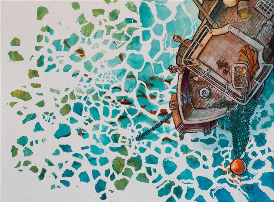 Original art for sale at UGallery.com | Fishing Boat, 1 by Hano Dercksen | $500 | mixed media artwork | 9' h x 12' w | ..\art\mixed-media-artwork-Fishing-Boat-1