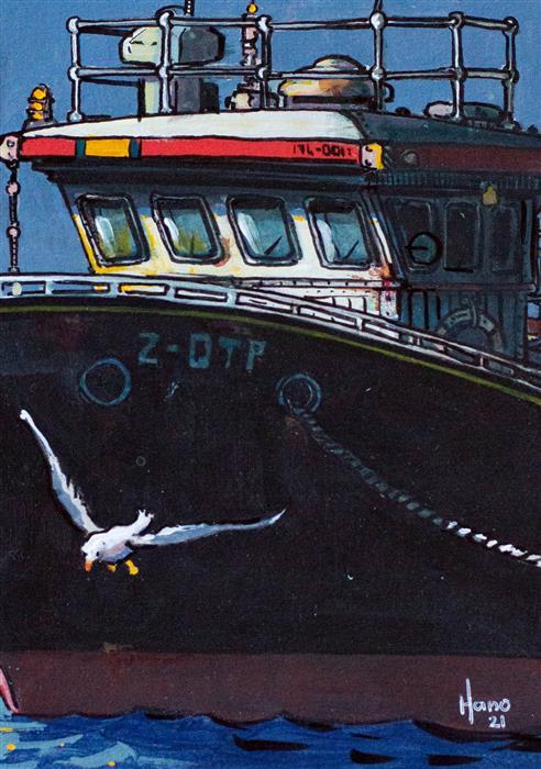 Original art for sale at UGallery.com | Fishing Boat, 2 by Hano Dercksen | $225 | mixed media artwork | 7' h x 5' w | ..\art\mixed-media-artwork-Fishing-Boat-2