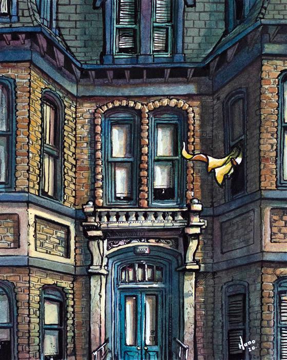 Original art for sale at UGallery.com | House, St. John by Hano Dercksen | $400 | mixed media artwork | 10' h x 8' w | ..\art\mixed-media-artwork-House-St-John