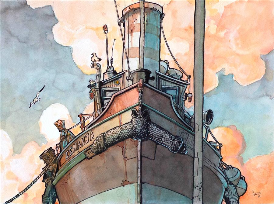 Original art for sale at UGallery.com | Harbor Boat, Rotterdam by Hano Dercksen | $850 | mixed media artwork | 12' h x 16' w | ..\art\mixed-media-artwork-Harbor-Boat-Rotterdam