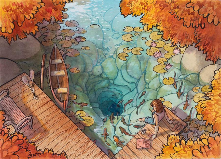 Original art for sale at UGallery.com | The Lagoon by Hano Dercksen | $850 | mixed media artwork | 11.75' h x 16.5' w | ..\art\mixed-media-artwork-The-Lagoon