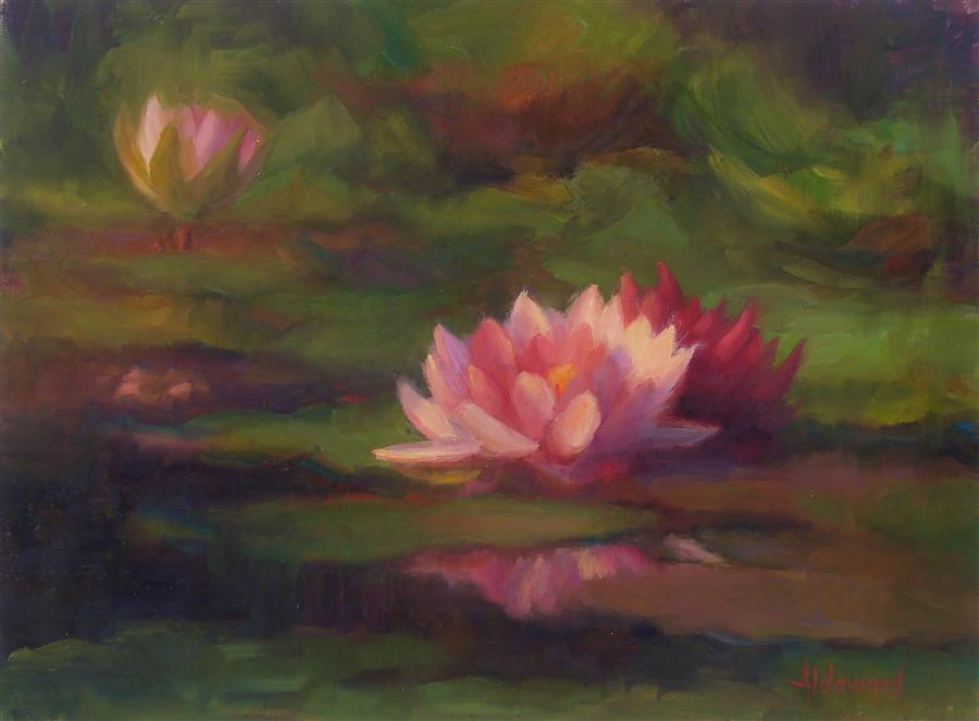 Original art for sale at UGallery.com | Three Water Lillies by Sherri Aldawood | $575 | oil painting | 12' h x 16' w | ..\art\oil-painting-Three-Water-Lillies