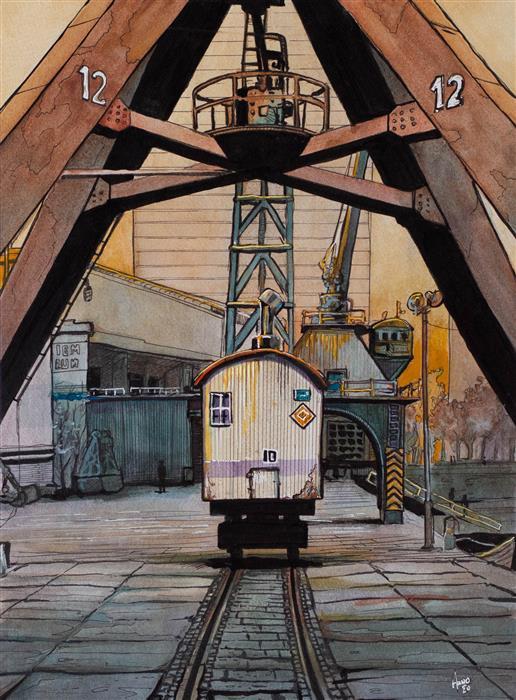 Original art for sale at UGallery.com | Rotterdam Harbor Freight Cart by Hano Dercksen | $850 | mixed media artwork | 16' h x 12' w | ..\art\mixed-media-artwork-Rotterdam-Harbor-Freight-Cart