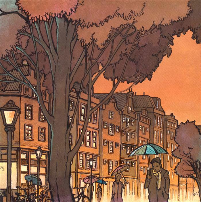 Original art for sale at UGallery.com | Amsterdam in the Rain by Hano Dercksen | $600 | mixed media artwork | 11.5' h x 11.5' w | ..\art\mixed-media-artwork-Amsterdam-in-the-Rain