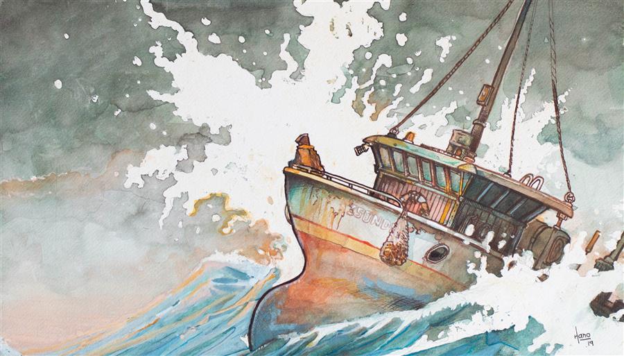 Original art for sale at UGallery.com | Fishing Boat, 3 by Hano Dercksen | $475 | mixed media artwork | 8' h x 14' w | ..\art\mixed-media-artwork-Fishing-Boat-3