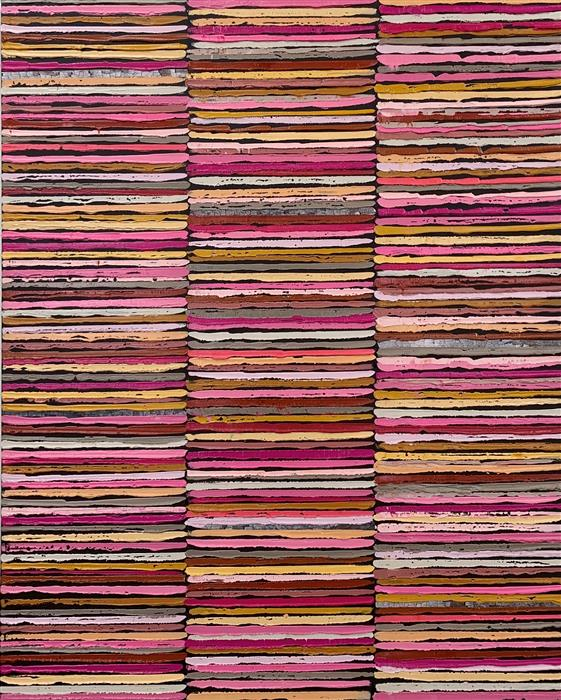 Original art for sale at UGallery.com | Pink Stripes by Janet Hamilton | $2,575 | oil painting | 30' h x 24' w | ..\art\oil-painting-Pink-Stripes