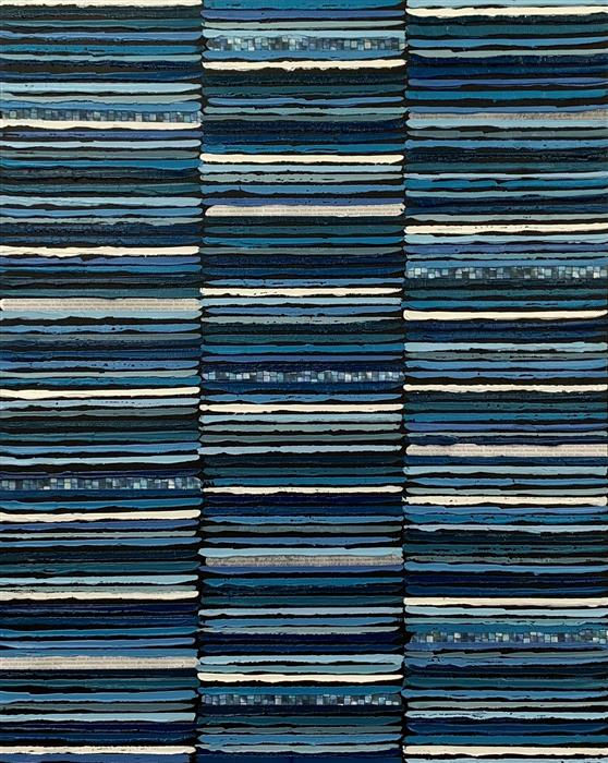 Original art for sale at UGallery.com | Navy Stripes by Janet Hamilton | $2,575 | mixed media artwork | 30' h x 24' w | ..\art\mixed-media-artwork-Navy-Stripes
