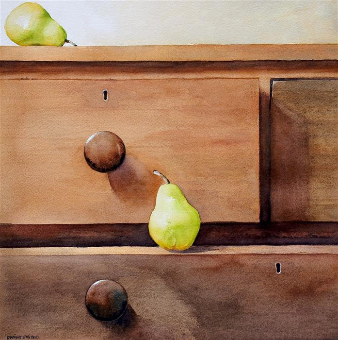 Original art for sale at UGallery.com | Antique Pears by Dwight Smith | $425 | watercolor painting | 12' h x 12' w | ..\art\watercolor-painting-Antique-Pears