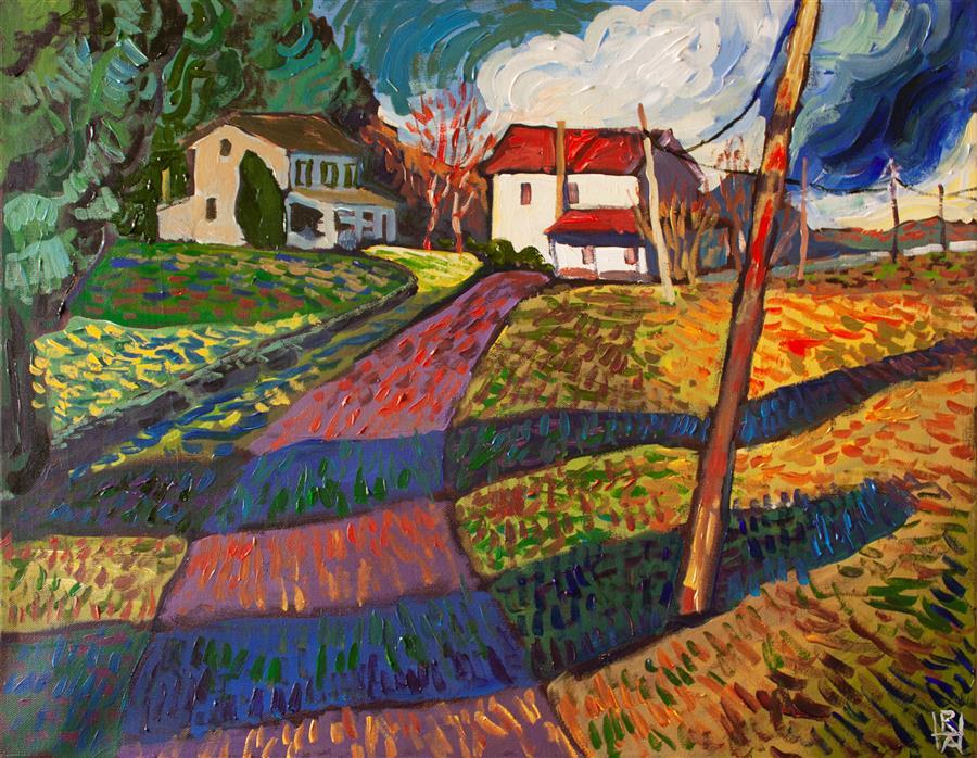 Original art for sale at UGallery.com | Houses on Rock Run Road by Robert Hofherr | $1,475 | acrylic painting | 22' h x 28' w | ..\art\acrylic-painting-Houses-on-Rock-Run-Road