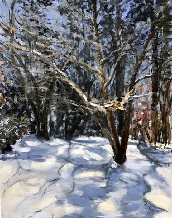 Original art for sale at UGallery.com | Winter Study, Light and Shadows by Elizabeth Garat | $750 | oil painting | 18' h x 14' w | ..\art\oil-painting-Winter-Study-Light-and-Shadows